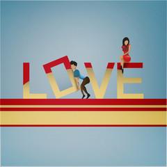 The man raises letter - the concept of love