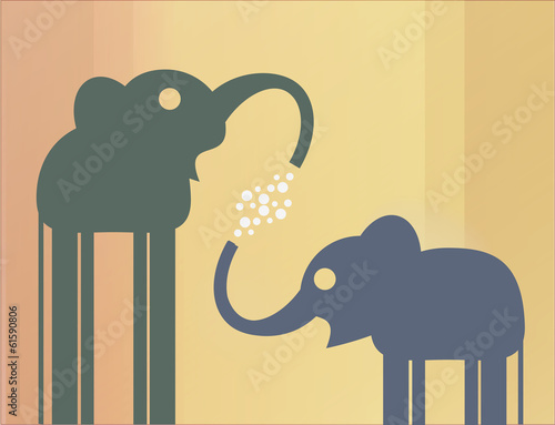 Mother elephant and the elephant play with bubbles