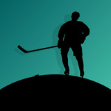Active young man ice hockey sport silhouette skating in winter s