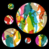 Floor ball players active men sport silhouettes vector abstract