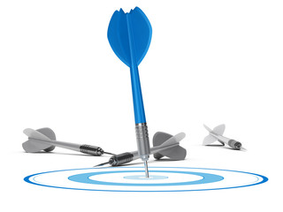 Strategic Management Concept - Target and Darts