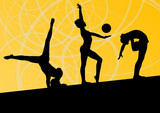 Active young girls calisthenics sport gymnasts silhouettes with