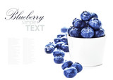Blueberries in a bowl isolated on white background close up. Bil