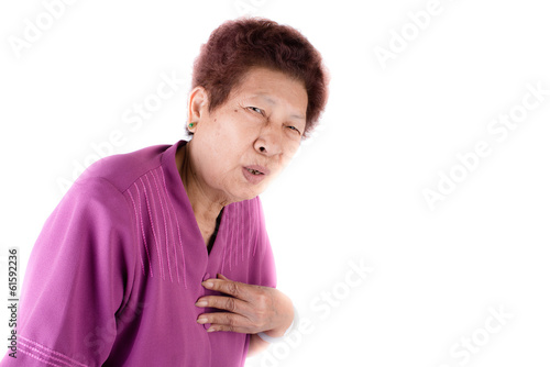 Woman with heart pain isolated on white background