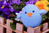 one blue chick sit on wooden fance