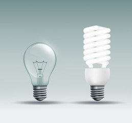 incandescent and energy-saving lamp