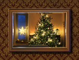 Christmas tree in wall mirror