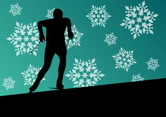 Active young man skiing sport silhouette in winter ice and snowf