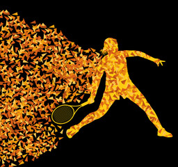 Tennis players active sports silhouette background illustration