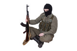 Robber with kalashnikov isolated