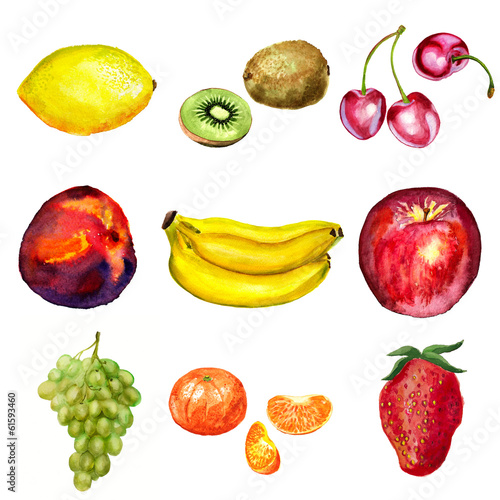 Set of watercolor fruits