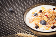 Plate of muesli with yogurt and fresh berries. Background