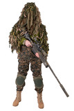 Camouflaged sniper in ghillie suit
