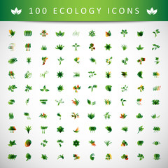 Ecology Icons Set - Isolated On Gray Background