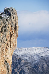 Panoramic of snow mountain in Alicante, Spain