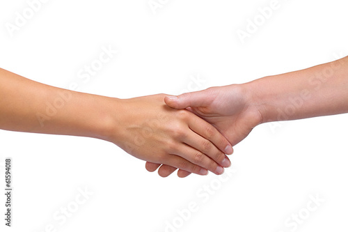 Isolated women handshake