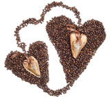 Hearts of coffee beans