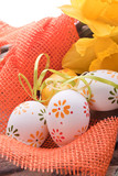 easter eggs with dots and yellow spring flower decoration