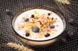 Plate of muesli with yogurt and fresh berries