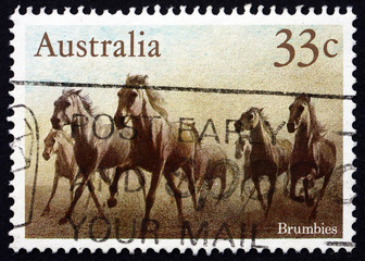 Postage stamp Australia 1986 Brumbies, Wild Horses