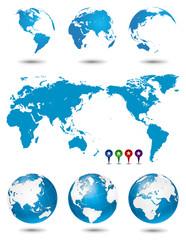 地球・世界地図セット