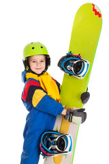 Happy boy with snowboard