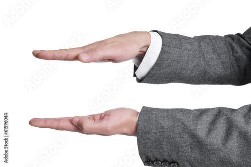 man hands showing or holding something