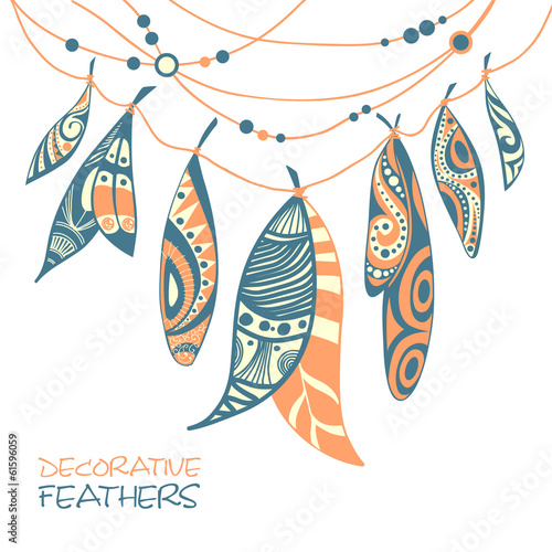 Decorative ornamental ethnic feathers