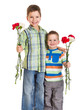 Two kids with carnations