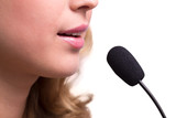 lips of girl speak into the microphone