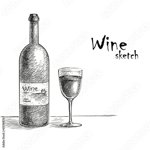Wine and glass sketch