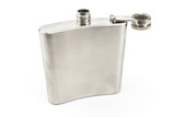 Hip flask for alcohol isolated on white