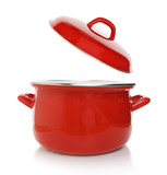 Fototapety Red cooking pot isolated on white background