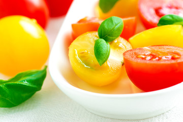Assorted colorful red and yellow cherry tomatoes