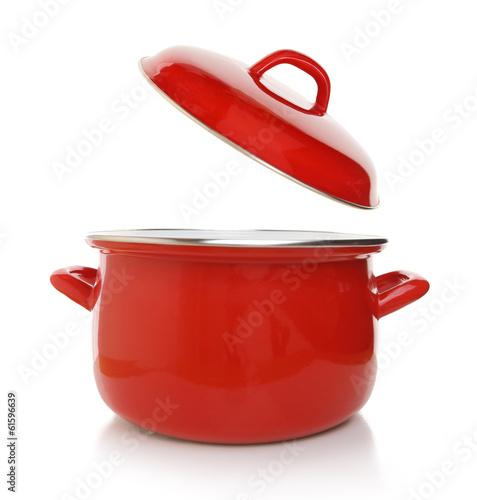 Leinwandbild Motiv Red cooking pot isolated on white background