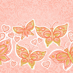 Pink seamless border with colorful butterflies.
