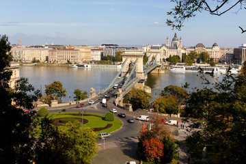 ブダペスト、ドナウ川に架かる鎖橋
