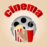 movie icon.items for cinema .reel of film with popcorn and a dri