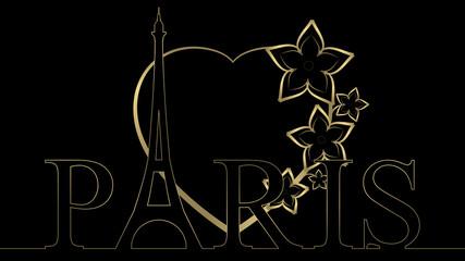 Eiffel Heart - Gold & Black