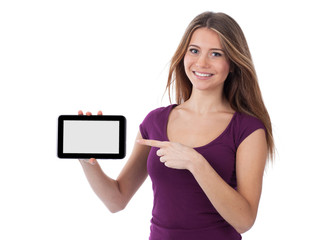 Smiling young woman presenting an electronic tablet