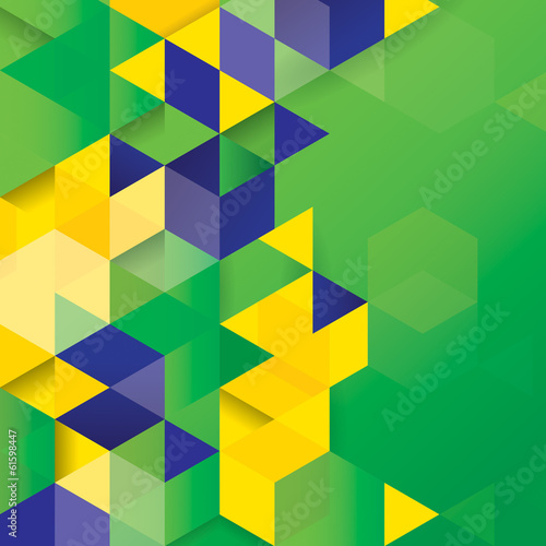 Vector geometric background in Brazil flag concept.