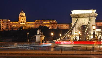 Budapest Castle and Chain Bridge at night