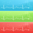 Medical background with cardiogram and DNA in three colors