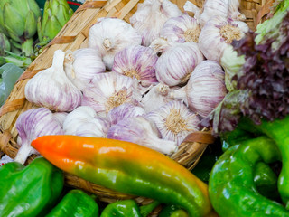 Ecological green peppers and garlics