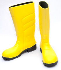 Yellow Wellington Boots on white background