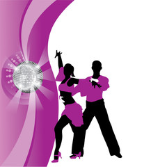 vector purple background with dancing couple