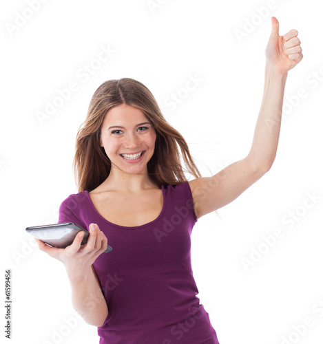 Very happy woman holding a touchpad