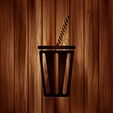 Cold drink web icon. Wooden background.