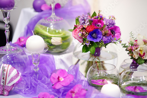 Beautiful purple flowers as a table decoration