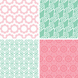 vector four abstract pastel abstract swirl motives seamless